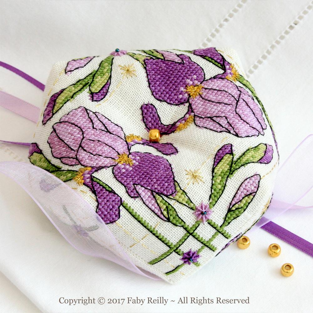 Purple Iris Biscornu - Faby Reilly Designs