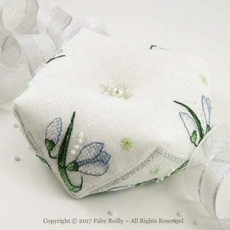 Snowdrop Biscornu – Faby Reilly Designs