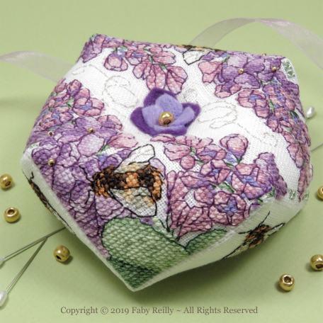 Lilac Biscornu – Faby Reilly Designs