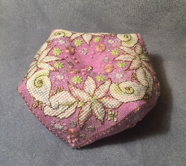 Wintry Blooms Biscornu stitched by Kate