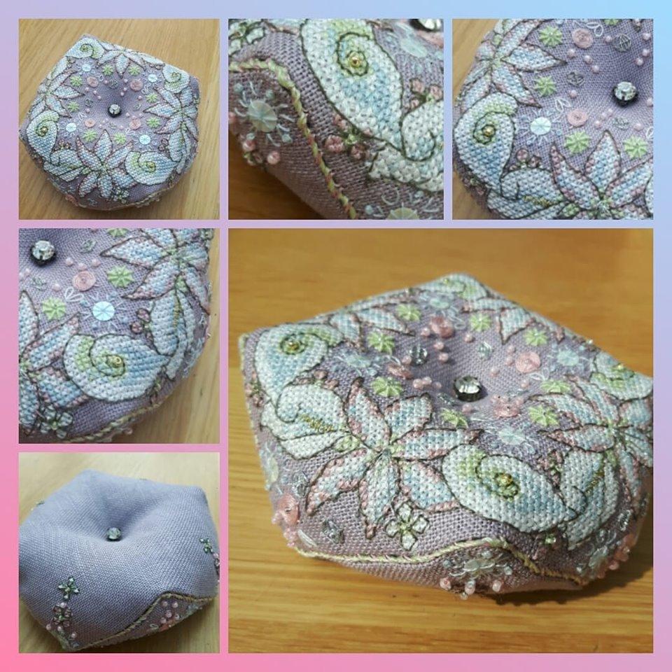 Wintry Blooms Biscornu - stitched by Sandra