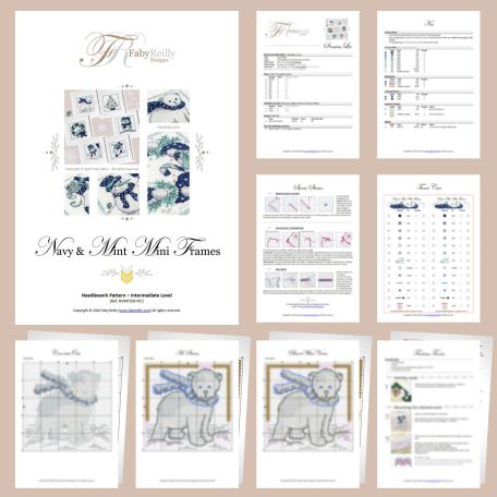 Navy and Mint Mini Frames Sample Pages (set of 6) – Faby Reilly Designs
