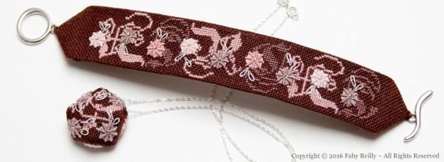 Bijoux brodés Rose-Chocolat