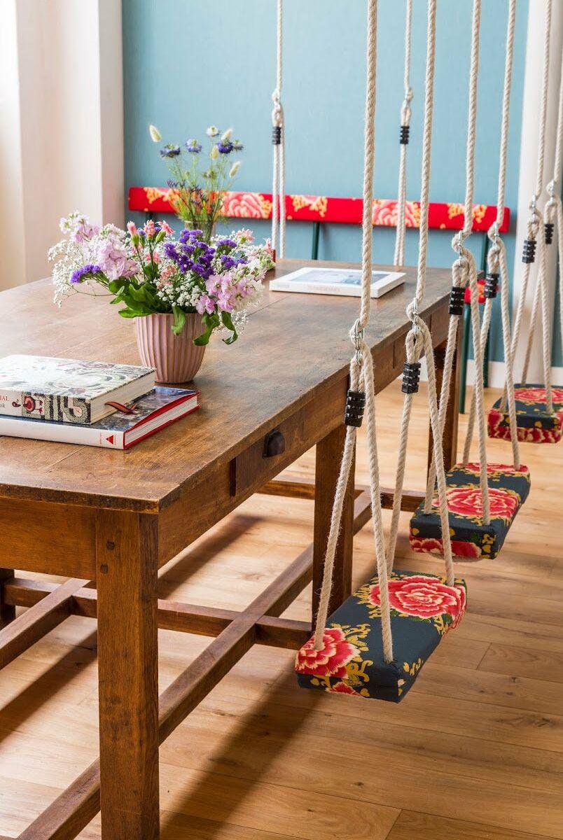 la mode est au slow design s encombrer moins avoir un interieur plus leger remplacer les chaises par des balancoires est pile dans cette tendance
