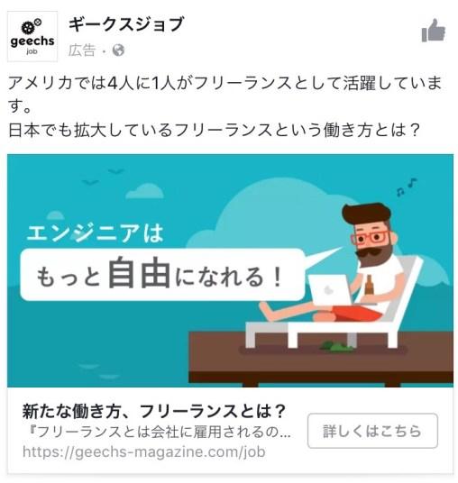 ギークスジョブ facebook広告