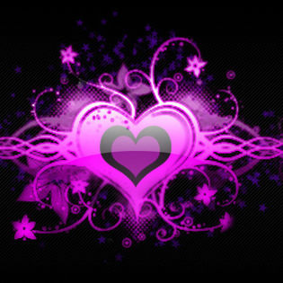 New 3d Animation Wallpaper Purple Heart Love Floral Facebook Cover Love