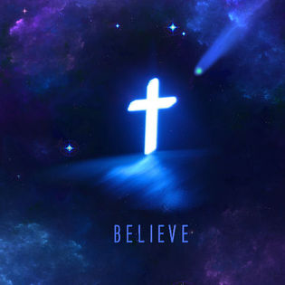 Free Christian Quotes Wallpaper Believe Cross In Clouds Night Sky Facebook Cover Religion