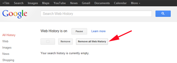 How to delete your Google Web History before the new