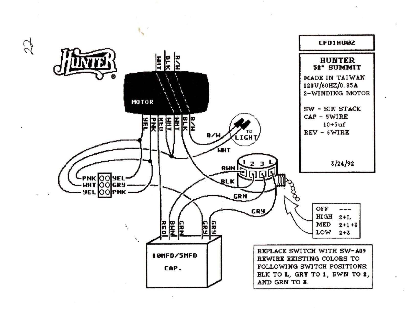Wiring Diagram For Hunter Ceiling Fan With Three Sd 4 Wire