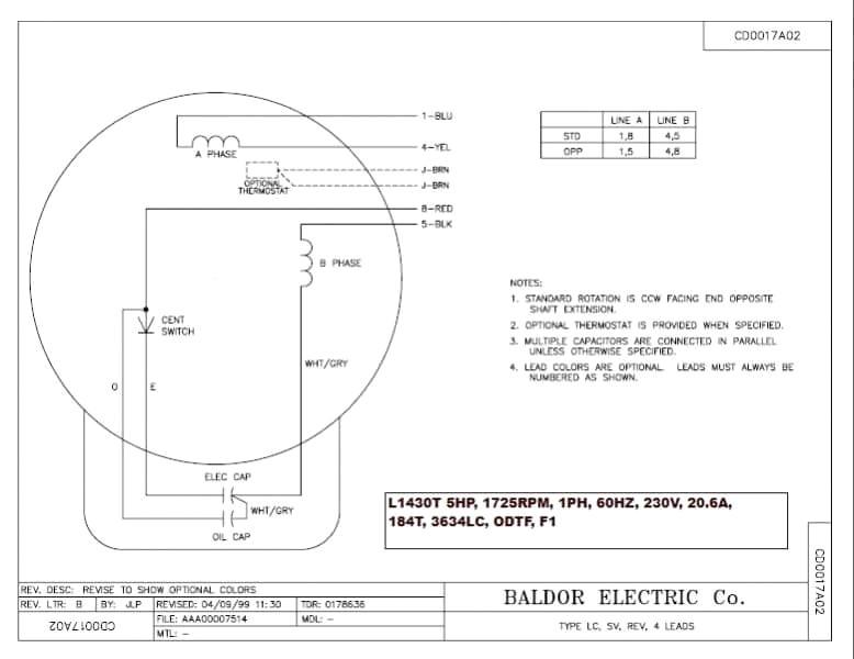 Baldor Motor Wiring Diagram 1 Phase Hp