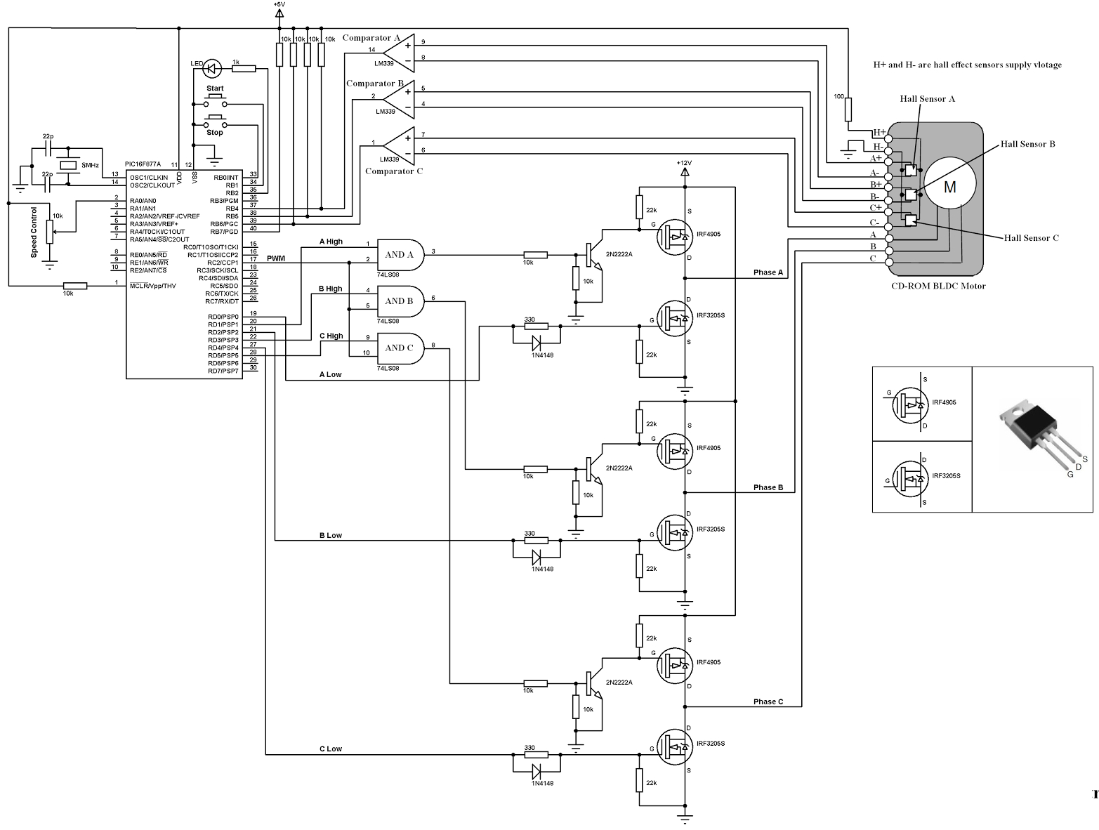 hight resolution of bldc motor controller wiring diagram collection cd rom sensored brushless dc bldc motor control circuit