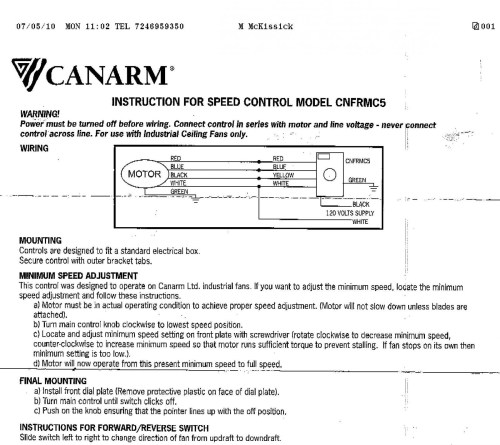 small resolution of canarm industrial ceiling fans wiring diagram