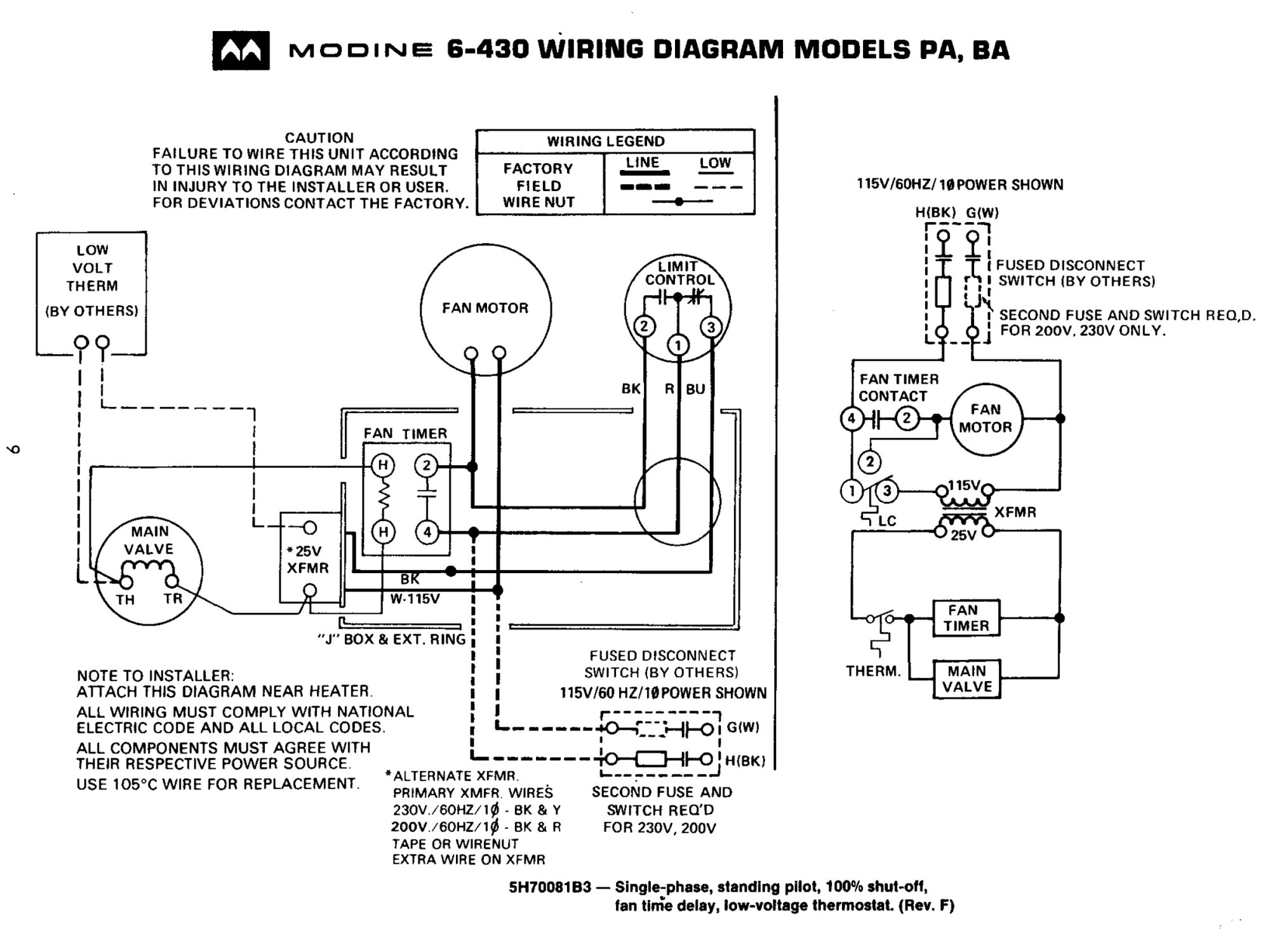 Modine Unit Heater Wiring Diagram - wiring mazda tagged ... on