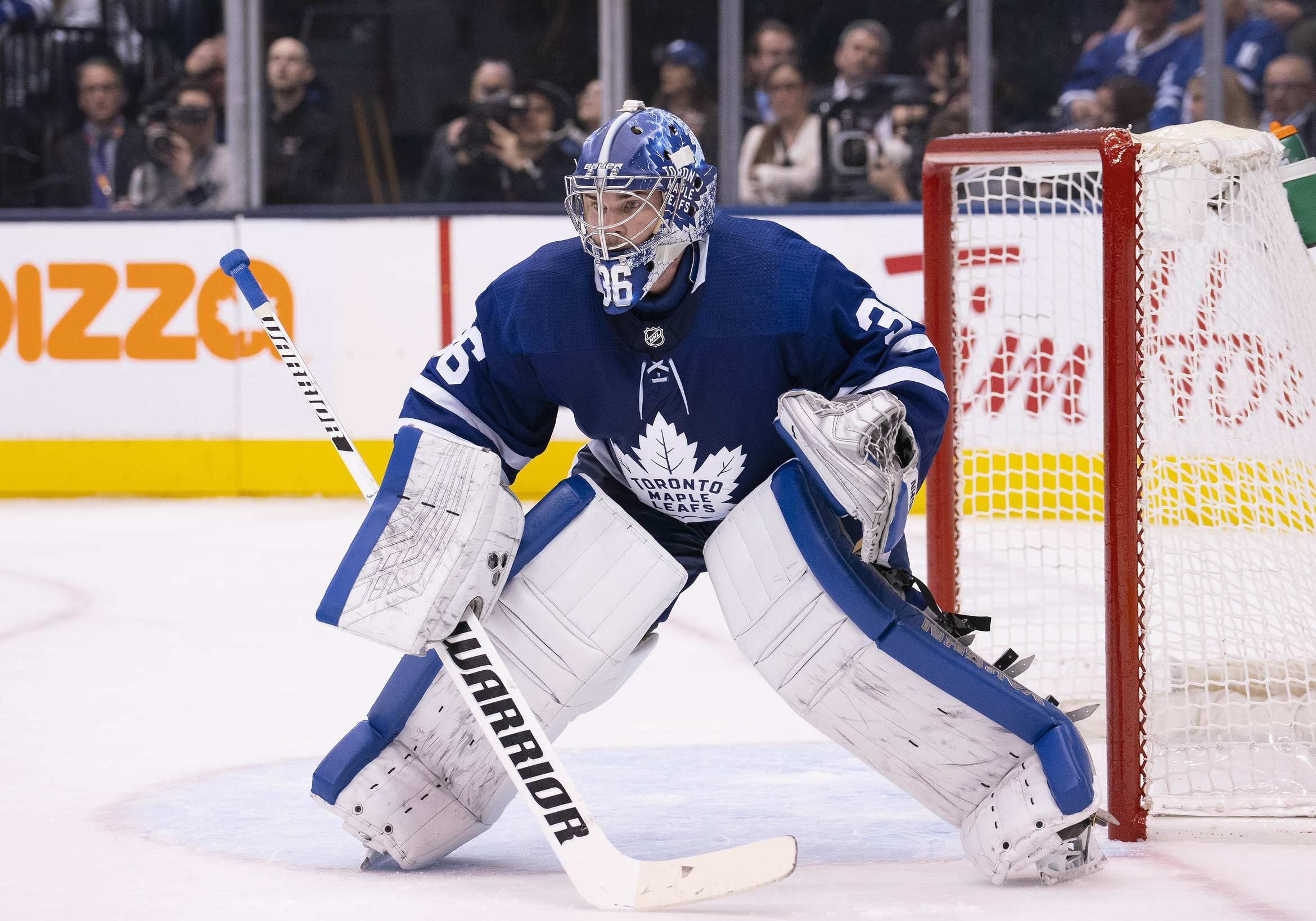 """Jack Campbell out """"weeks"""" with leg injury, Leafs rotate lineup ahead of Calgary rematch"""