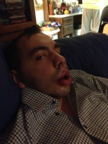 I made Evan open his eyes so people would know he was alive!!