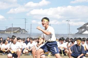 渡波中学校運動会フェイスペインティングの画像