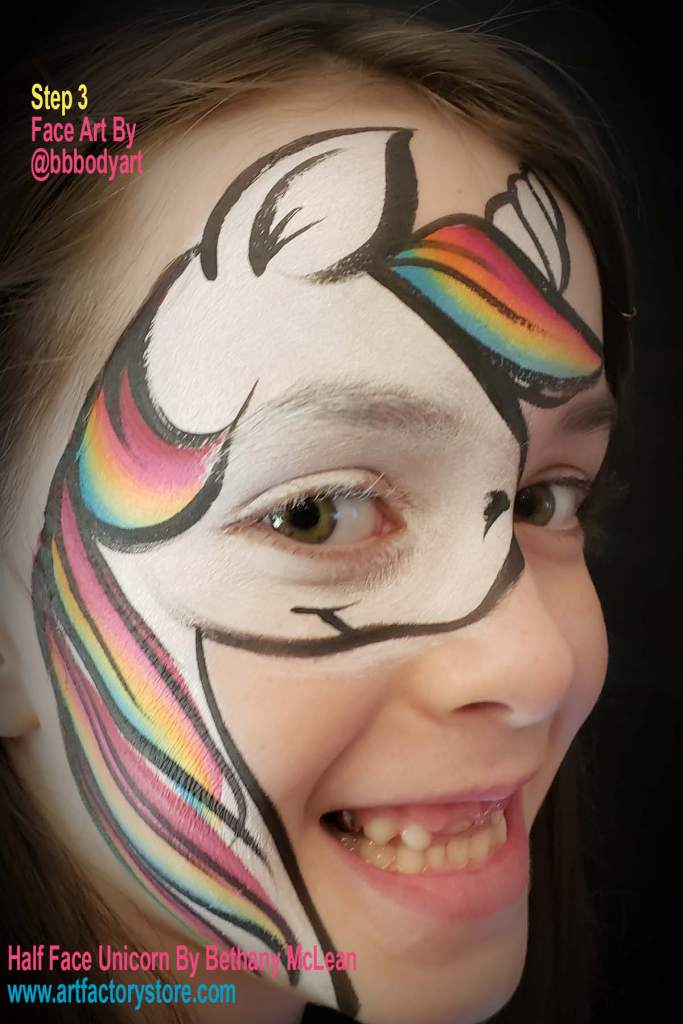 step 3 of half face unicorn tutorial