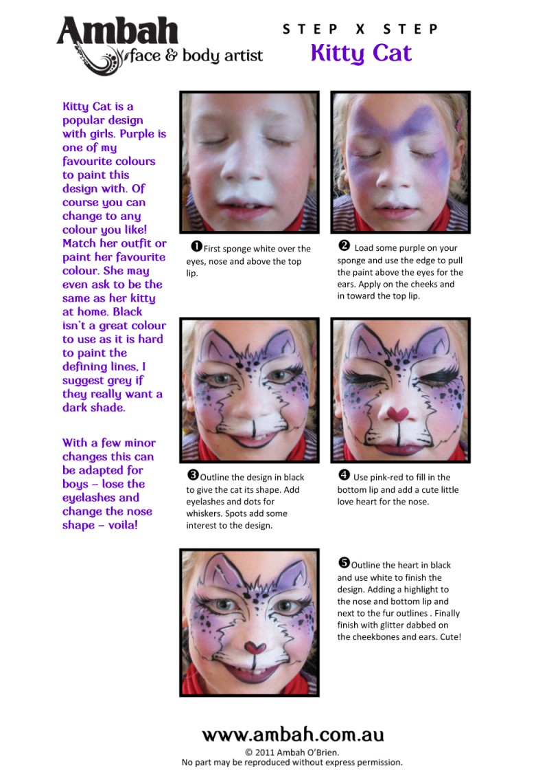 Step By Step Cat Face Paint : paint, Kitty