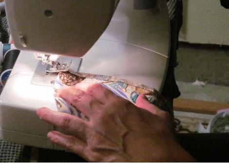 Lori stitching with machine