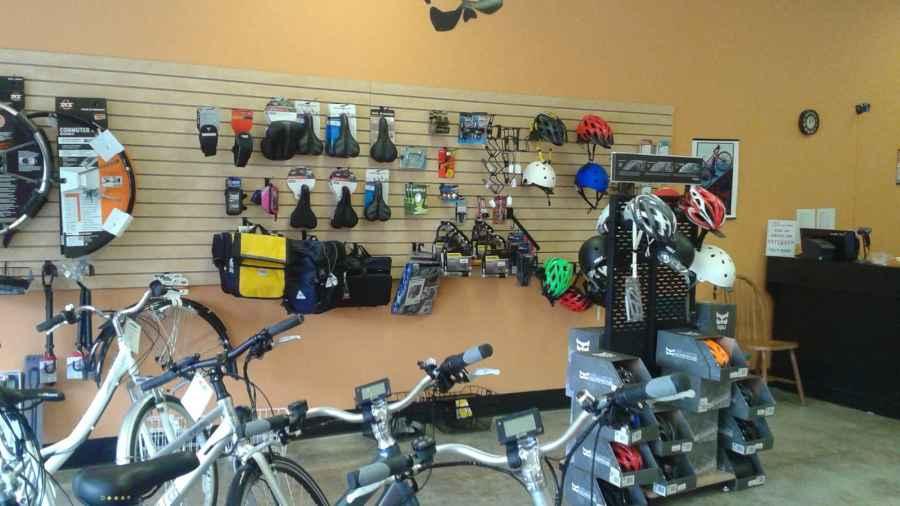 Accessory Wall at Cynergy E-Bikes