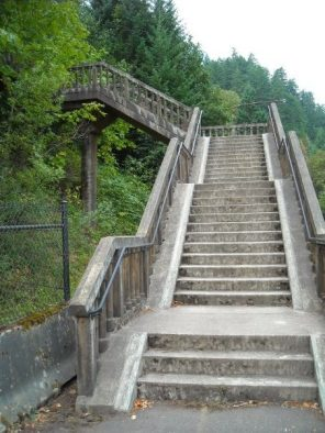 Stairs on bike route through Columbia River Gorge
