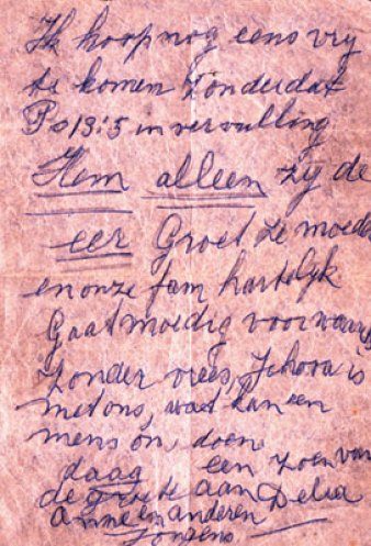 Farewell letter of Deliana Rademakers (1923 -1942). Collection of the Watch Tower Bible and Track Society of Emmen.