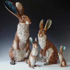 Beautifully crafted in clay, this family of hares by Gin Durham evokes family spirit on this Father's Day weekend.