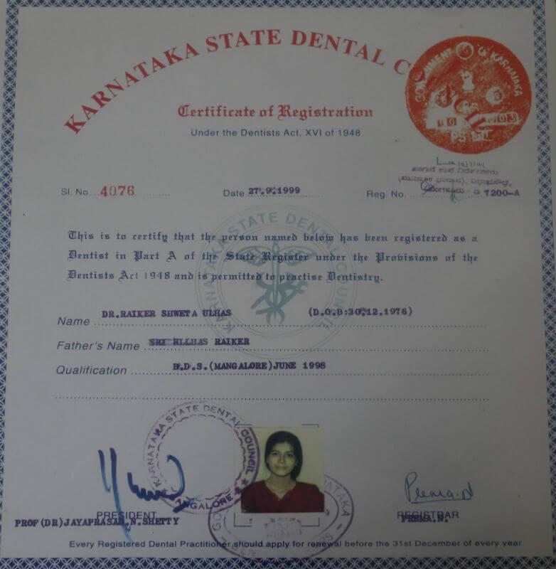 Certificate - Karnataka, 1999
