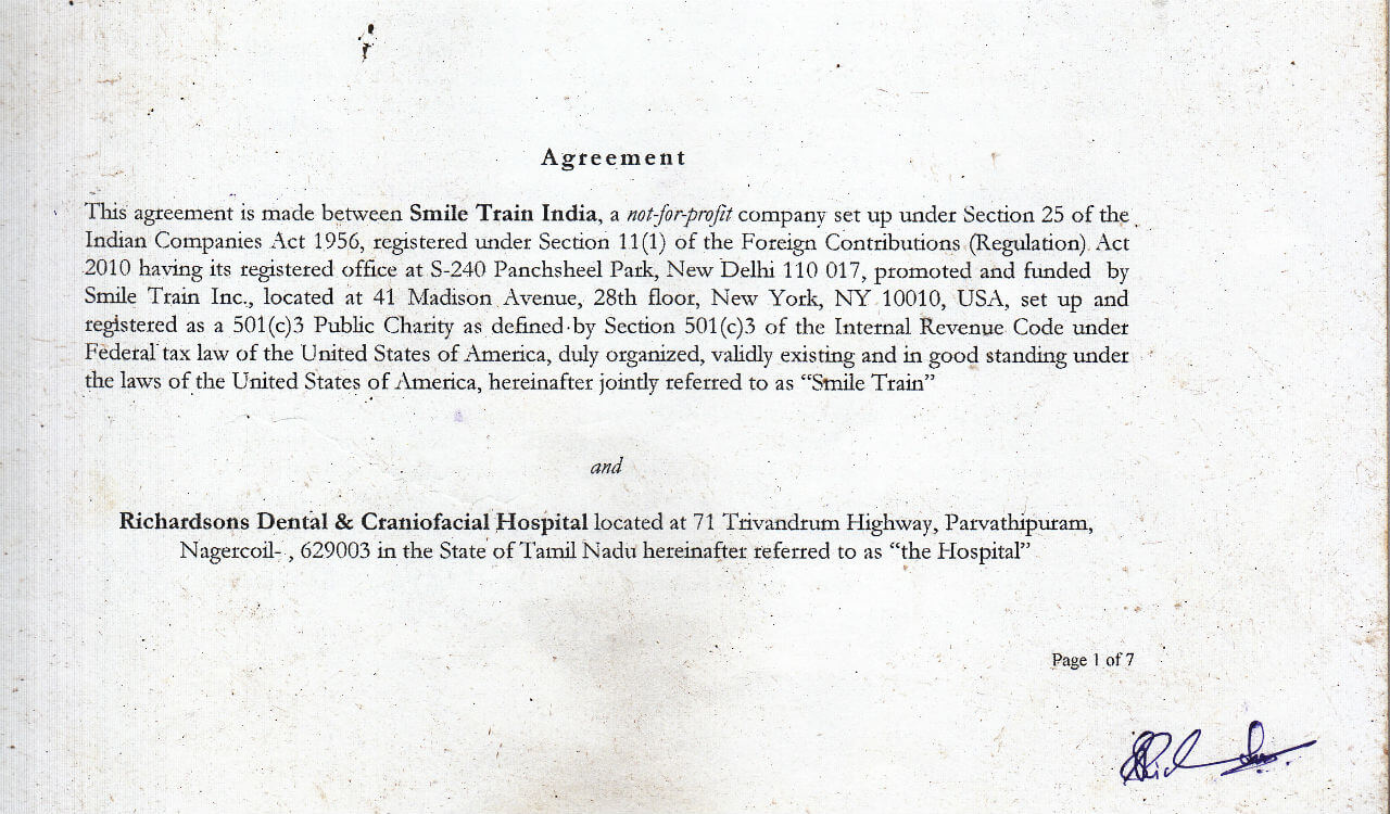 Smile Train India Agreement with Richardsons Dental and Craniofacial Hospital