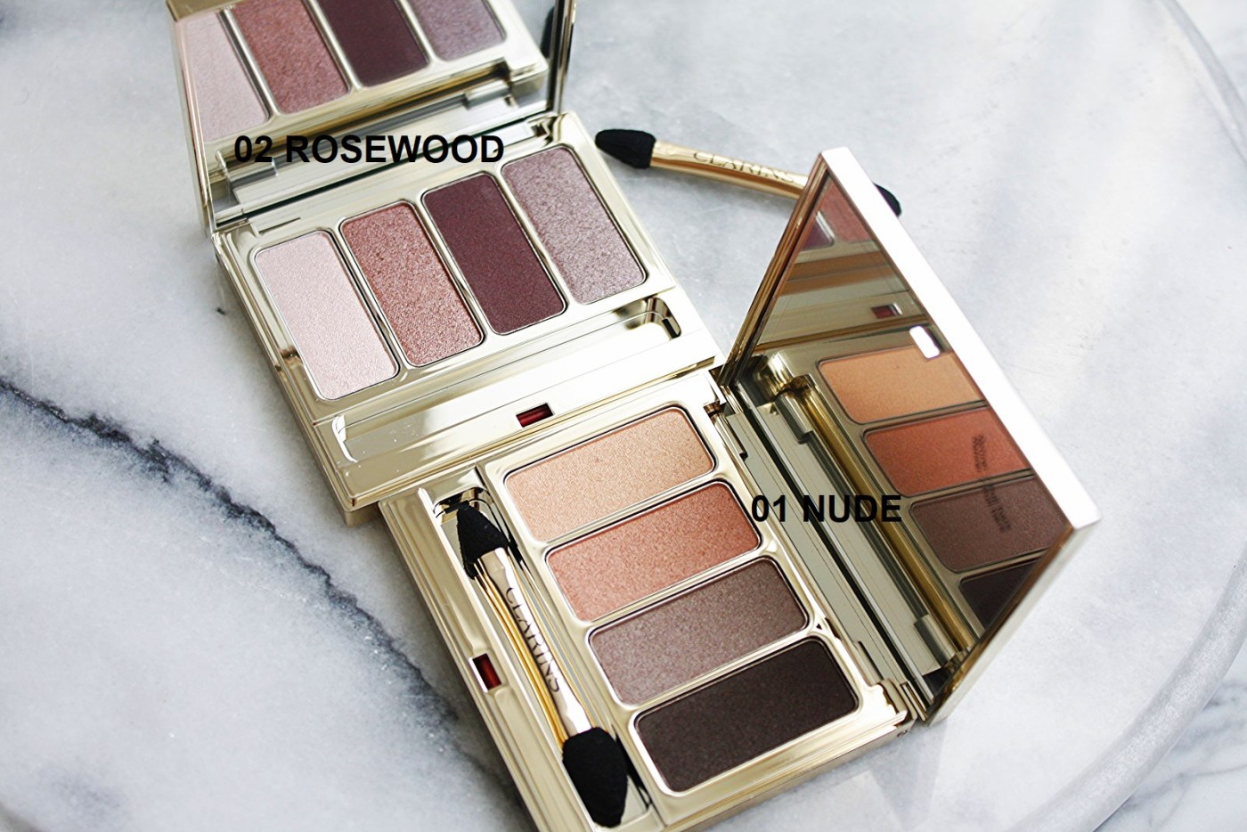 CLARINS 4-COLOUR EYESHADOW PALETTE – NUDE & ROSEWOOD