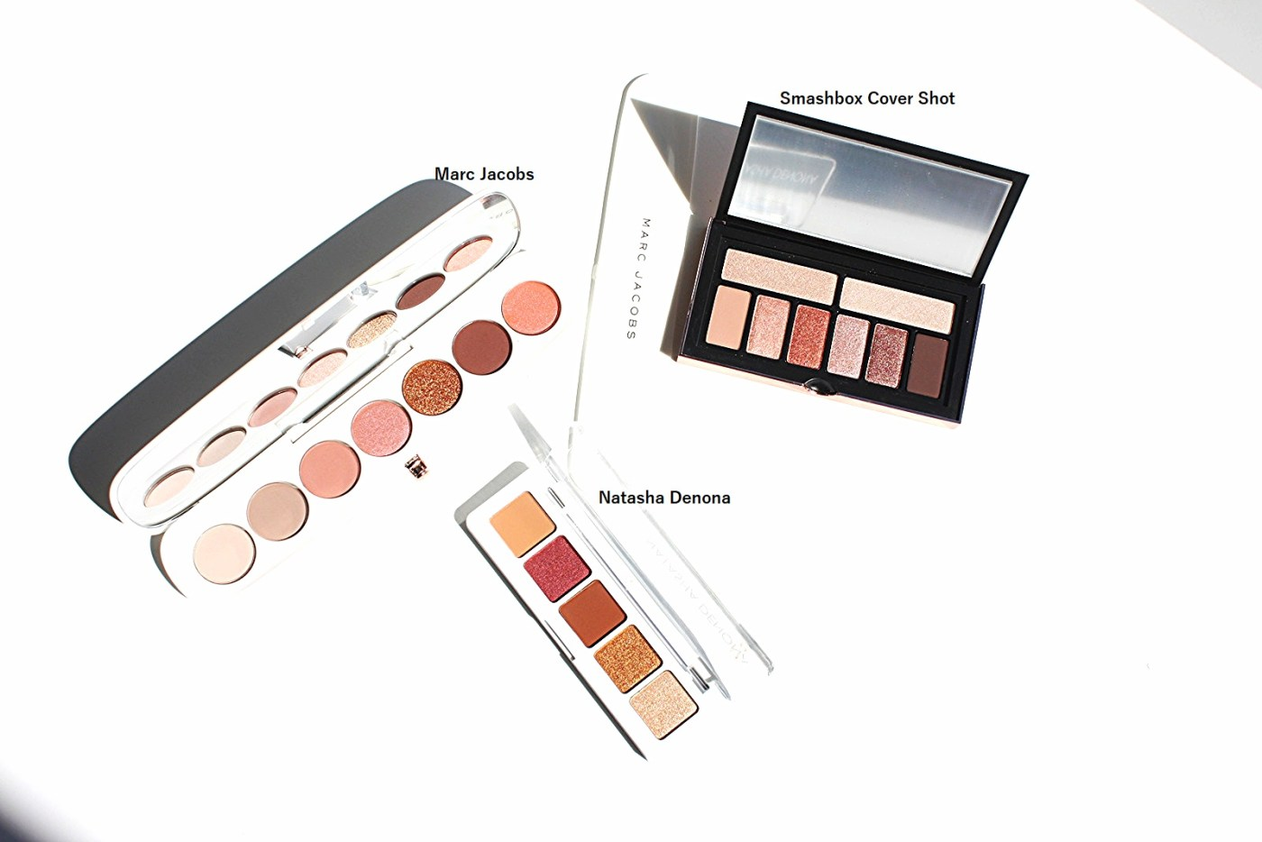 THREE EYESHADOW PALETTES FROM MARC JACOBS, NATASHA DENONA AND SMASHBOX