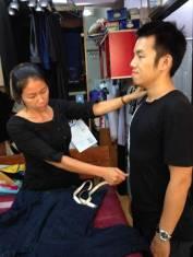 Mrs. Denar measuring Chu