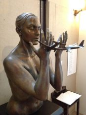 9-11 Memorial sculpture at St. John the Divine. Planes flying into the hands of Mary.