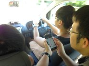 The boys navigating. They astound me with their gadgetry savvy. Mention a restaurant and Chuan has a review within in seconds.