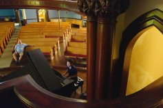 Chuan playing piano at the First Congregational Church downtown
