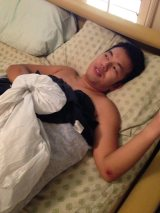 Chuan after his bike accident. No broken bones. Just a sprained wrist and some road rash.