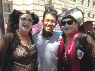 Chuan with the Sisters. From their Facebook page: The Sisters of Perpetual Indulgence is a leading-edge Order of queer nuns. Since our first appearance in San Francisco on Easter Sunday, 1979, the Sisters have devoted ourselves to community service, ministry and outreach to those on the edges, and to promoting human rights, respect for diversity and spiritual enlightenment. We believe all people have a right to express their unique joy and beauty and we use humor and irreverent wit to expose the forces of bigotry, complacency and guilt that chain the human spirit.