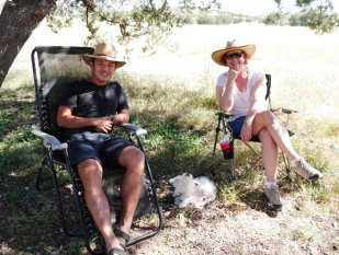 with Angela at the campsite
