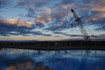 Pool with old crane