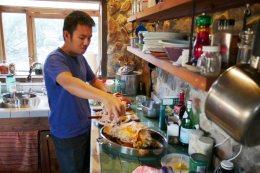 carving up the bird at Erik's