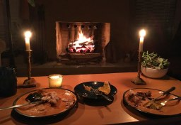 dinner by the fire