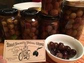 It's olive season. Jarring them up.
