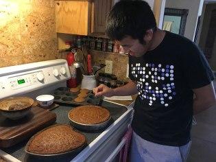 Making carrot cakes.