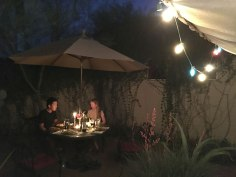 Alex and Chuan in the backyard for a spring dinner.