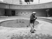 Arthur Tress on location in defunct water fountain