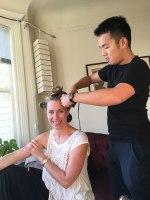 Kristel getting a hair rehearsal for the wedding