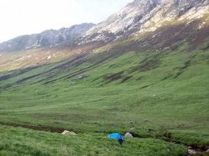 Back to camp in Glen Rosa
