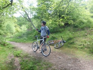 Sam taking a breather on the Red route at Mabie