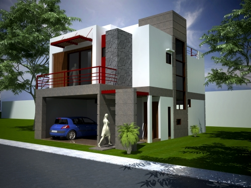 12 fachadas de casas modernas con terraza fachadas de for Casa minimalista 2 plantas