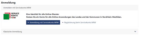 Screenshot vom Onliine-Formular des Servicekonto.NRW